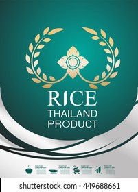 Rice Thailand food Logo Products and Fabric Background Thai Arts.