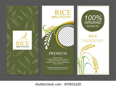 Rice Thailand food product vector design, banner and poster template design rice food.