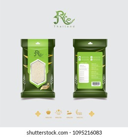 Rice of Thailand Packaging Food Product and Background Vector Concept Thai Arts