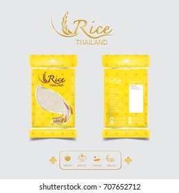 Rice of Thailand Packaging Food Product and Background Thai Arts.