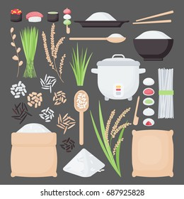 Rice vector flat icon set, Big collection of flat design of food, healthy eating objects, rice plantation and products isolated on the dark background, cute vector illustration with reflections