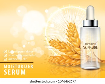 Rice , wheat , barley and oat collagen vitamin skin care serum banner vector illustration