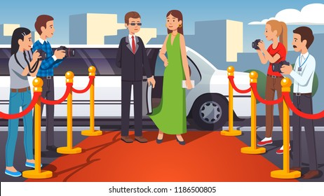 Rich & beautiful superstar celebrity woman walking on a red carpet. Bodyguard opening luxury limousine ride door. Paparazzi photographers taking photo by posing fashion model. Flat vector illustration