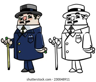 Rich business man with cane - BW and Color Vector clip art illustration