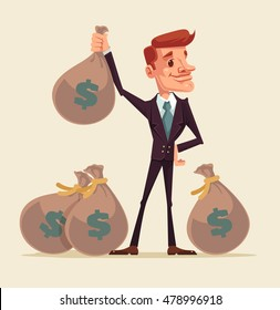 Rich businessman character hold bags full of money. Vector flat cartoon illustration