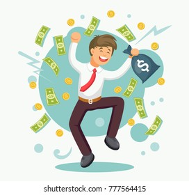 Rich businessman, employee jumping with money bag, bills. Salary, bonus, income concept. Successful contract, business agreement Happy character isolated on white background Vector flat cartoon design