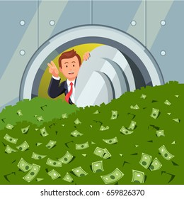 Rich businessman peeking through bank vault door full of dollar cash showing victory gesture with hand. Safe room filled with lots of money. Business success concept. Flat style vector illustration.