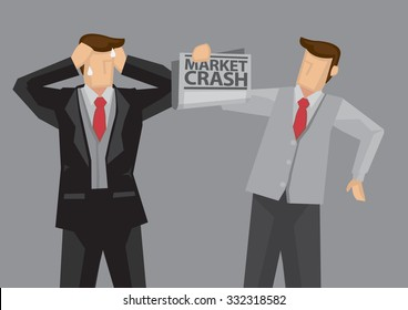 Rich businessman weeps upon learning the news of market crash. Cartoon vector illustration of economic and financial crisis concept isolated on grey background.