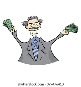 Rich capitalist man happy with Money in hands.