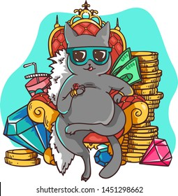 Rich cat in sunglasses sits on a throne of red velvet surrounded by gold coins, multicolored gems and bills. Millionaire cat is a symbol of wealth, success of the abundant life