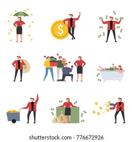 Rich characters who spend money in luxury vector illustration flat design