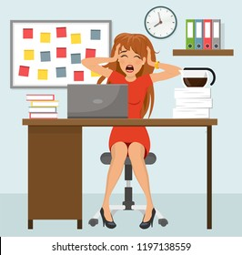 Rich desperate business woman with stress at work vector graphic flat design