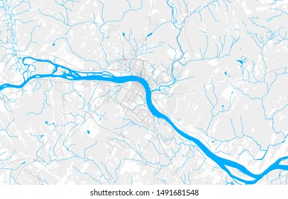 Rich detailed vector area map of Fredericton, New Brunswick, Canada. Map template for home decor.