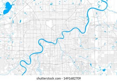 Rich detailed vector area map of Edmonton, Alberta, Canada. Map template for home decor.