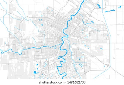 Rich detailed vector area map of Winnipeg, Manitoba, Canada. Map template for home decor.