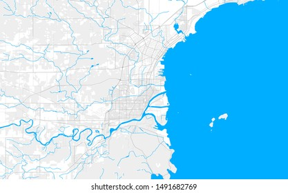 Rich detailed vector area map of Thunder Bay, Ontario, Canada. Map template for home decor.