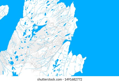 Rich detailed vector area map of St. Johns, Newfoundland and Labrador, Canada. Map template for home decor.