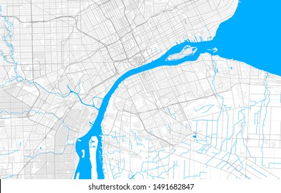 Rich detailed vector area map of Windsor, Ontario, Canada. Map template for home decor.