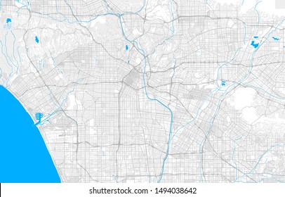 Rich detailed vector area map of Los Angeles, California, U.S.A.. Map template for home decor.