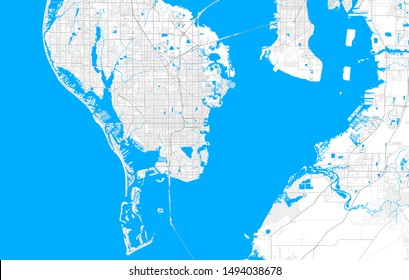 Rich detailed vector area map of St. Petersburg, Florida, U.S.A.. Map template for home decor.