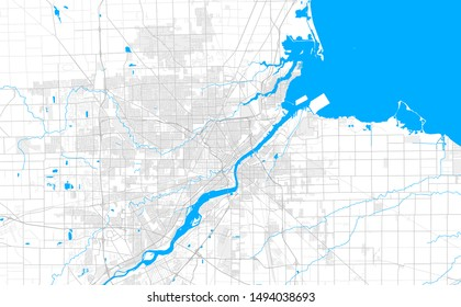 Rich detailed vector area map of Toledo, Ohio, U.S.A.. Map template for home decor.