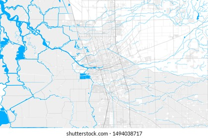 Rich detailed vector area map of Stockton, California, U.S.A.. Map template for home decor.