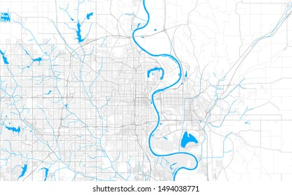 Rich detailed vector area map of Omaha, Nebraska, U.S.A.. Map template for home decor.