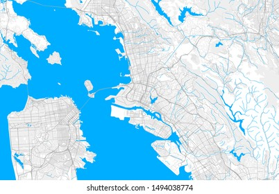 Rich detailed vector area map of Oakland, California, U.S.A.. Map template for home decor.