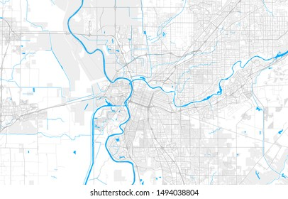 Rich detailed vector area map of Sacramento, California, U.S.A.. Map template for home decor.