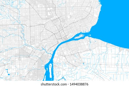 Rich detailed vector area map of Detroit, Michigan, U.S.A.. Map template for home decor.