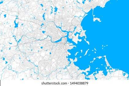 Rich detailed vector area map of Boston, Massachusetts, U.S.A.. Map template for home decor.