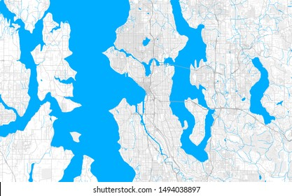 Rich detailed vector area map of Seattle, Washington, U.S.A.. Map template for home decor.