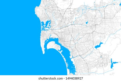 Rich detailed vector area map of San Diego, California, U.S.A.. Map template for home decor.