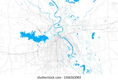 Rich detailed vector area map of Shreveport, Louisiana, USA. Map template for home decor.