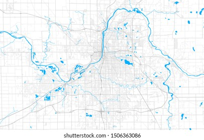 Rich detailed vector area map of Grand Rapids, Michigan, USA. Map template for home decor.
