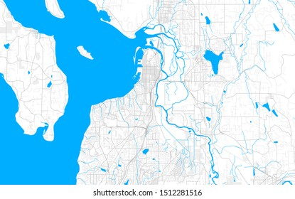 Rich detailed vector area map of Everett, Washington, USA. Map template for home decor.