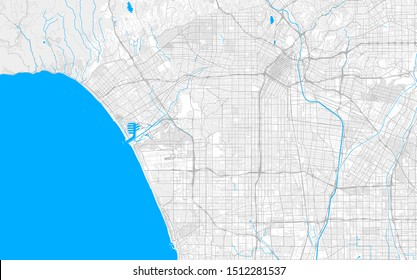 Rich detailed vector area map of Inglewood, California, USA. Map template for home decor.