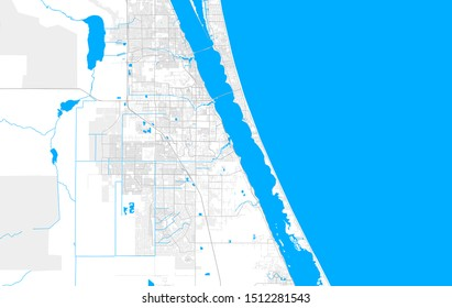Rich detailed vector area map of Palm Bay, Florida, USA. Map template for home decor.