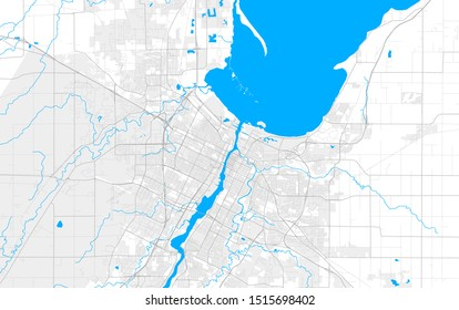 Rich detailed vector area map of Green Bay, Wisconsin, USA. Map template for home decor.