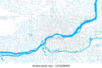 Rich detailed vector area map of Davenport, Iowa, USA. Map template for home decor.