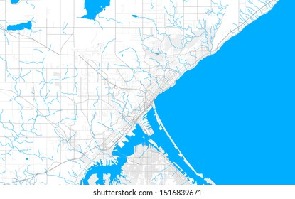 Rich detailed vector area map of Duluth, Minnesota, USA. Map template for home decor.