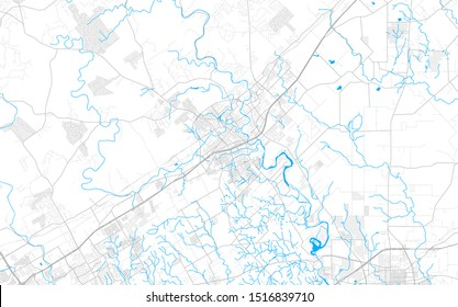 Rich detailed vector area map of New Braunfels, Texas, USA. Map template for home decor.