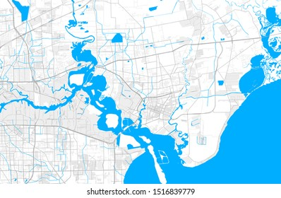 Rich detailed vector area map of Baytown, Texas, USA. Map template for home decor.