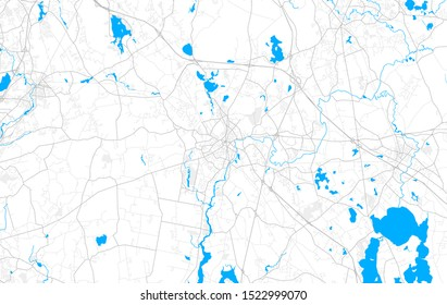 Rich detailed vector area map of Taunton, Massachusetts, USA. Map template for home decor.