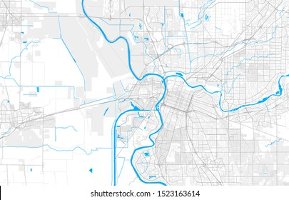 Rich detailed vector area map of West Sacramento, California, United States of America. Map template for home decor.