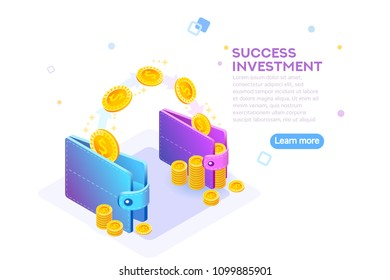 Rich finance to earning currency, capital concept. Wealth and income for a success economy accounting. Money wallet and financial savings transfer or pay transaction concept. Flat vector illustration.