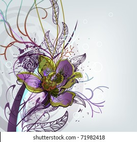 rich floral background with a single blooming orchid and fantasy plants