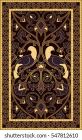 Rich floral pattern. Dark filigree ornament. Stylized template for  textile, bedspread, curtain, shawl, tile, carpet and any surface. Color background with birds and flower.