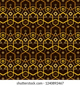 rich golden brown geometric repeating pattern with hexagons, triangles and floral elements for textile, fabric, background, interior design, wall art, posters, stationary, packaging and template