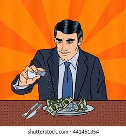 Rich Greedy Businessman Salts Money in the Plate. Pop Art. Vector illustration